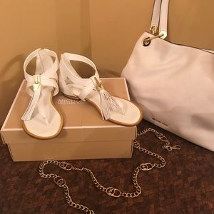 Michael Kors white leather & gold sandals